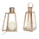 Rose Gold Glass Paneled Flameless Lantern with Timer, Set of 2