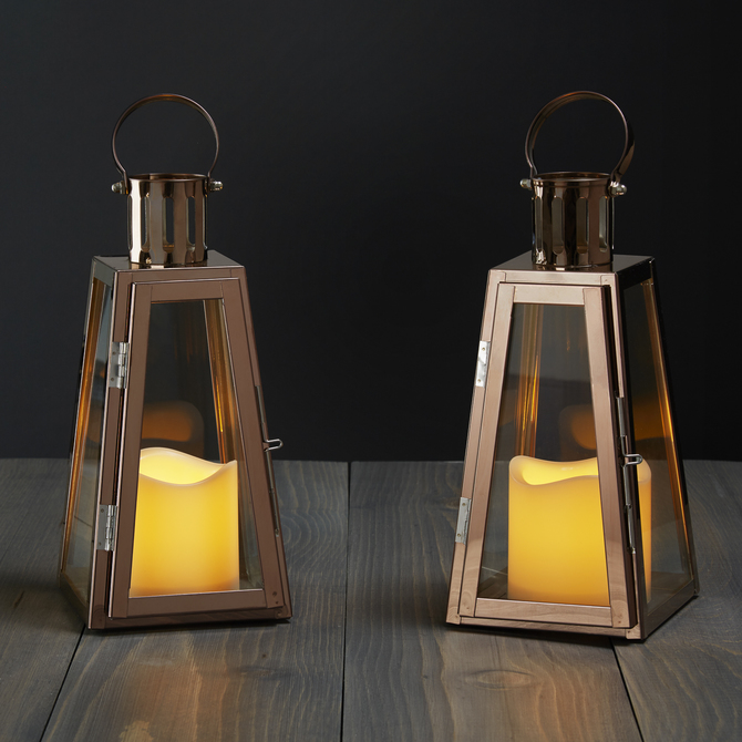 lightscom flameless candles lanterns rose gold glass paneled flameless lantern with timer set of 2