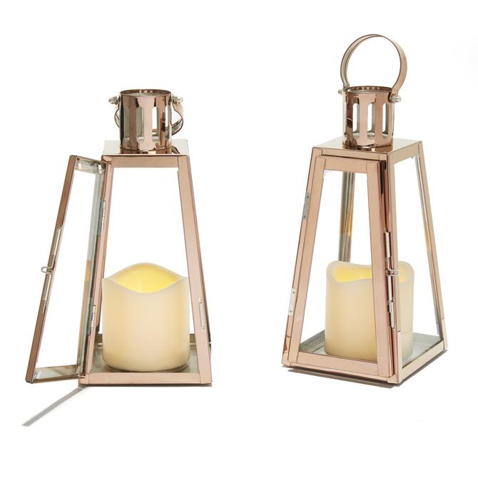 Rose Gold Glass Paneled Flameless Lantern with Timer, Set of 2