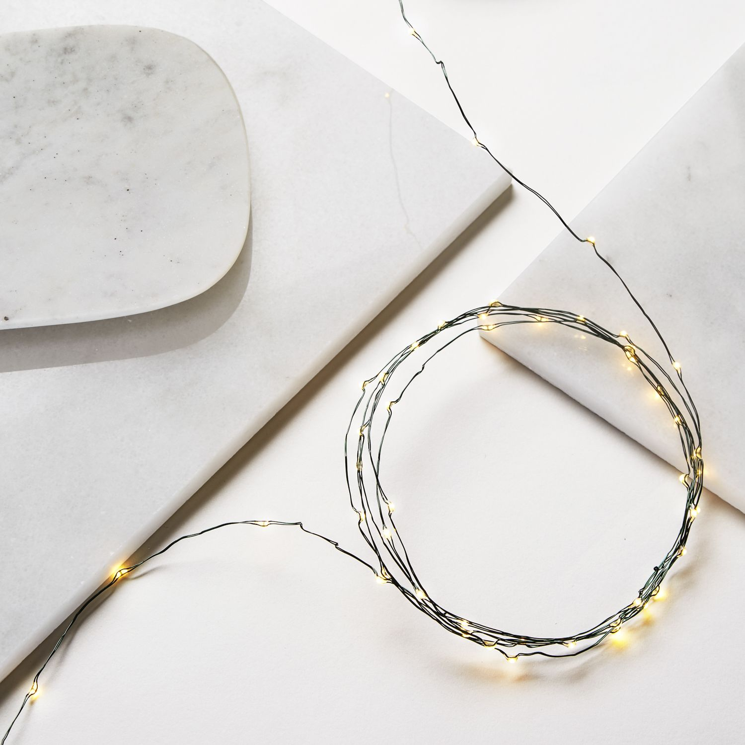 String Lights With Wire : Lights.com String Lights Fairy Lights 12ft Warm White Battery-Operated Green Wire Fairy ...