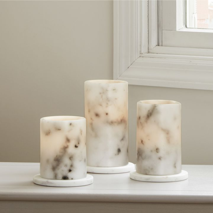 Vena Marble Pillar Candles, Set of 3