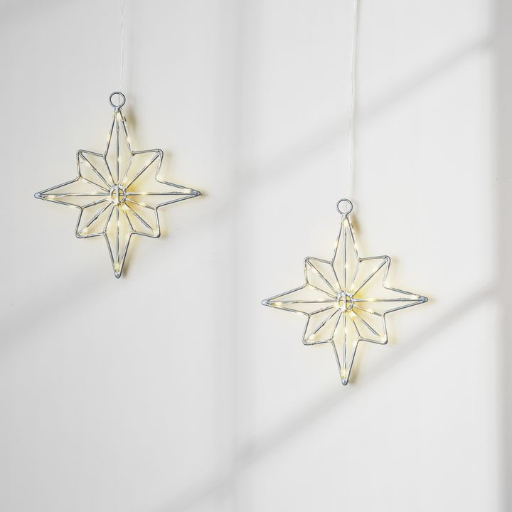 25 LED Small Wire Star, Set of 2