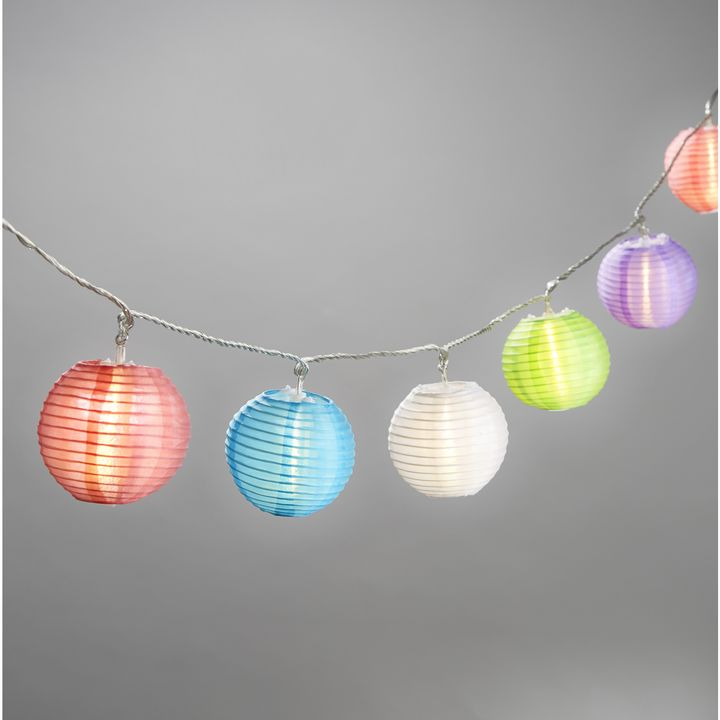 Multicolor Mini Oriental Expandable Plug-in String Lights, Strand of 20