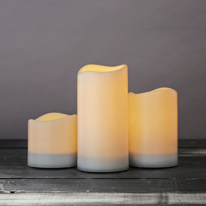 White Melted-Edge Solar Flameless Pillar Candles, Set of 3