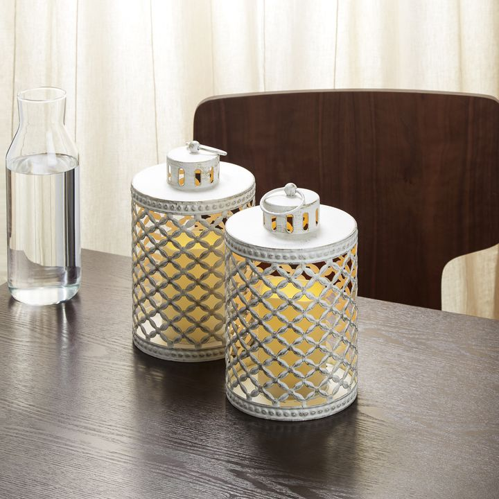 White Rustic Flameless Lantern, Set of 2