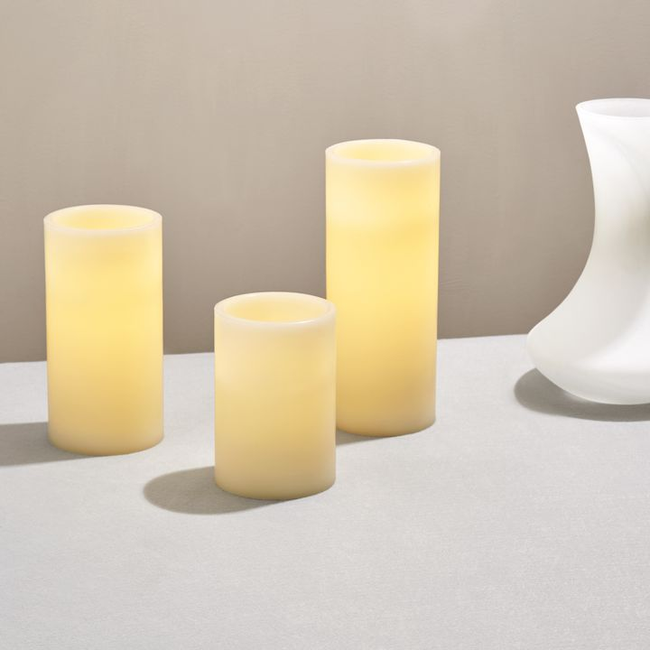 Touchstone Double LED Flat Top Pillar Candle, Set of 3