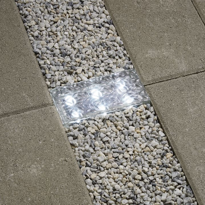 "Iced 8x4"" Solar Brick Light, Cool White"