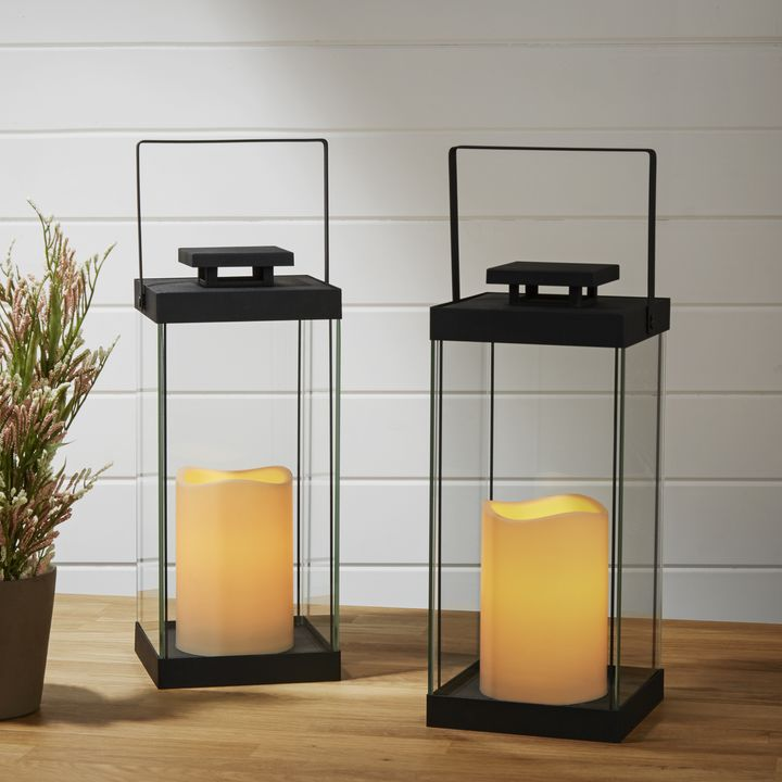 Black Glass Lantern with Flameless Candle, Set of 2