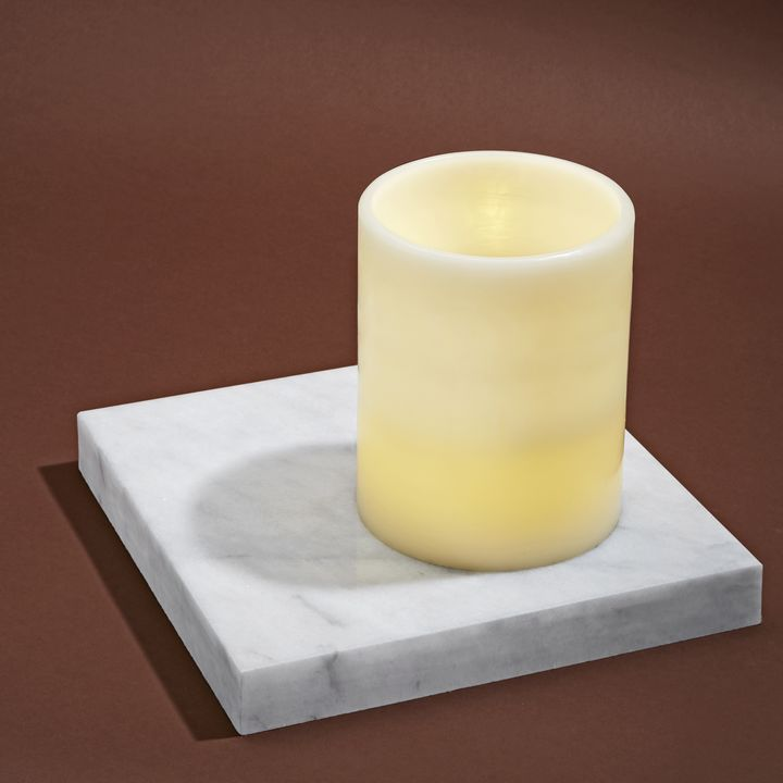 Touchstone Double LED Flat Top Flameless Ivory Pillar Candle, Medium