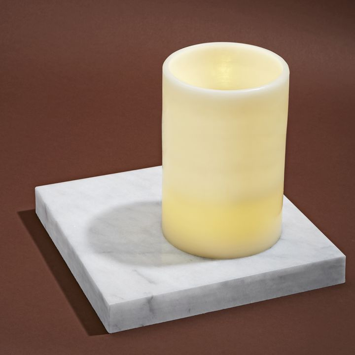 Touchstone Double LED Flat Top Flameless Ivory Pillar Candle, Large