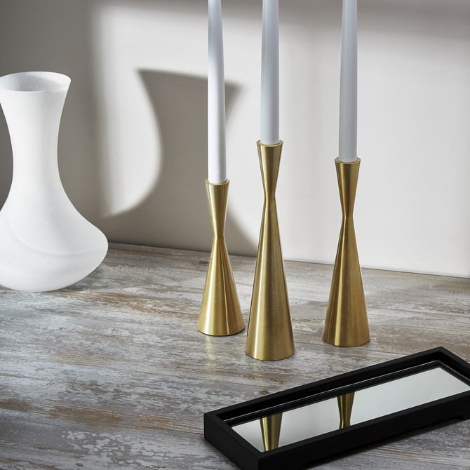 Eero Brass Hourglass Taper Candle Holder, Small
