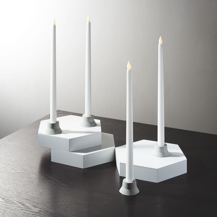 "Classic White 15"" Wax Flameless Taper Candles, Set of 4"
