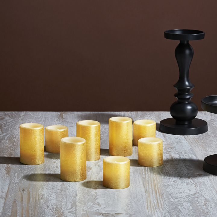 Rosalind Distressed Gold Flat Top Votives, Set of 8