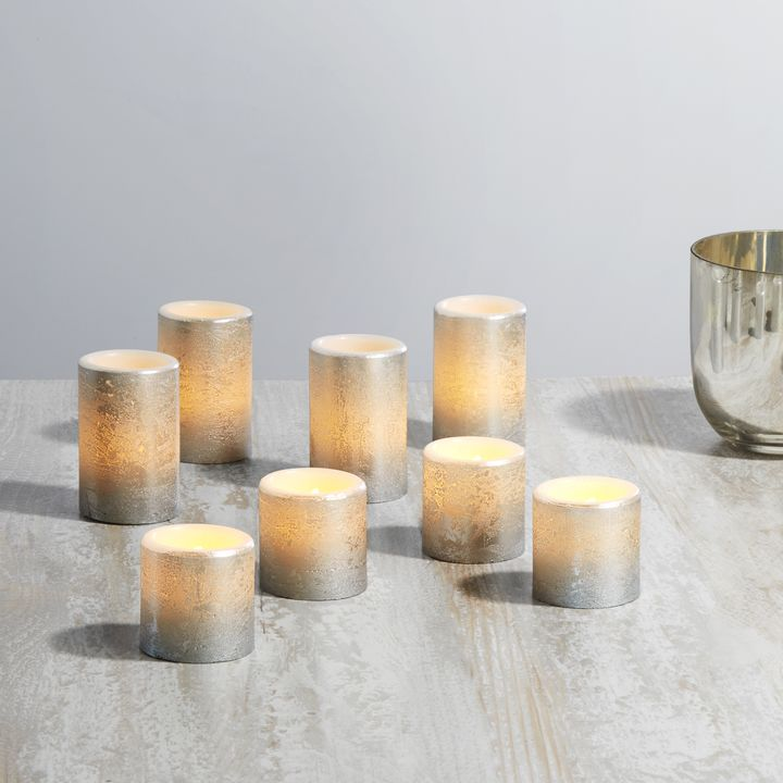 Rosalind Distressed Silver Flat Top Votives, Set of 8