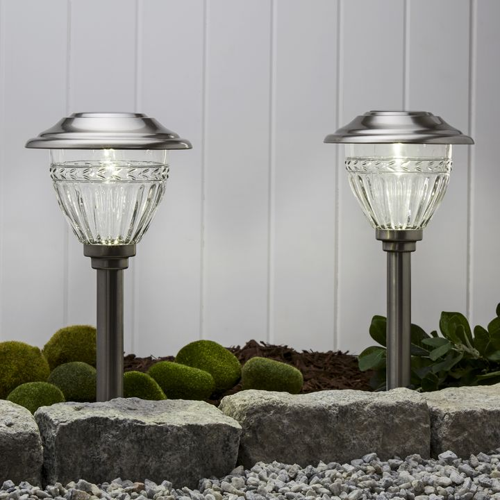 White Stainless Steel Solar Path Lights, Set of 6