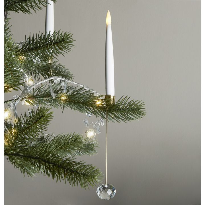 noelle flameless taper candles and christmas tree candleholders set of 8