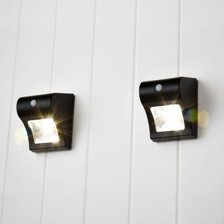 Onada Black Solar Wall Light, Set of 2