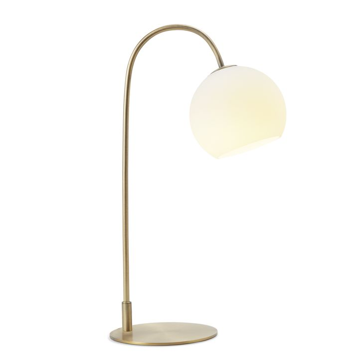 Celeste Table Lamp with White Globe Aged Brass