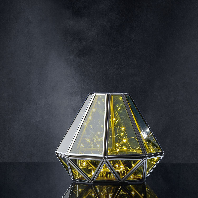 Diamond Terrarium Lantern With Silver Fairy Lights By Lamplust Ebay