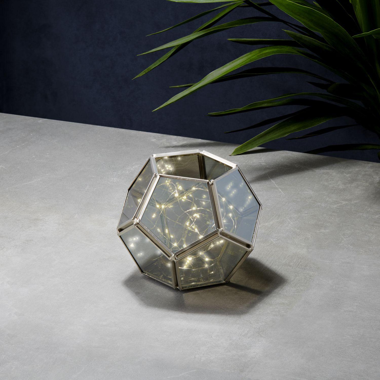 Geo Terrarium With Silver Fairy Lights By Lamplust Ebay