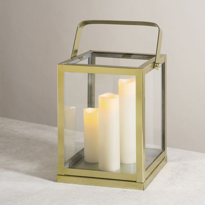 Lights Com Decor Candle Holders Miro Gold And Glass Lantern Large
