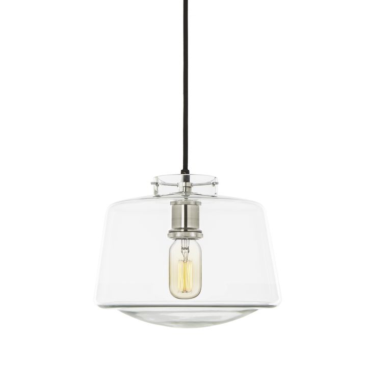 Schoolhouse Glass Pendant, Satin Nickel