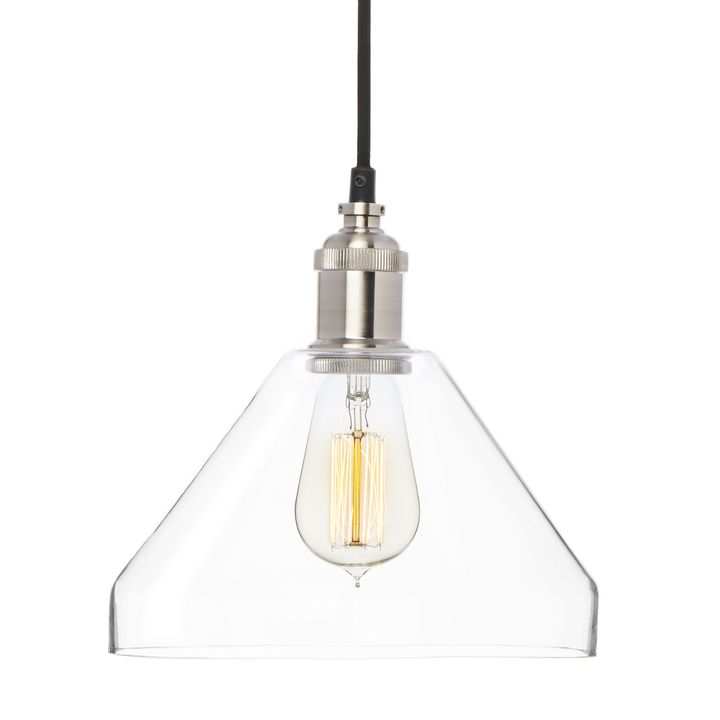 Tapered Glass Pendant, Satin Nickel