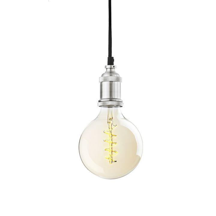Pendant with Red Hook LED Bulb, Satin Nickel