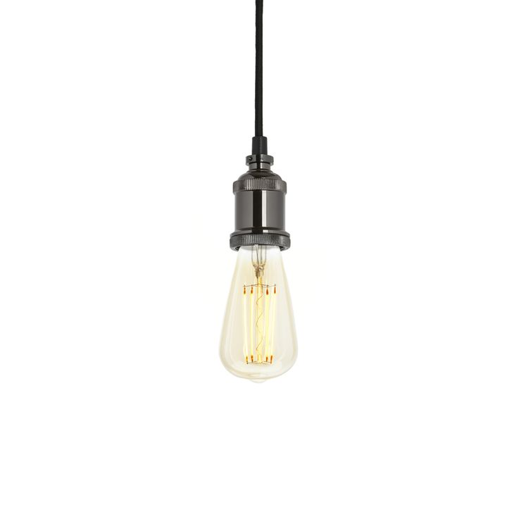 Pendant with Bushwick LED Bulb, Black Chrome
