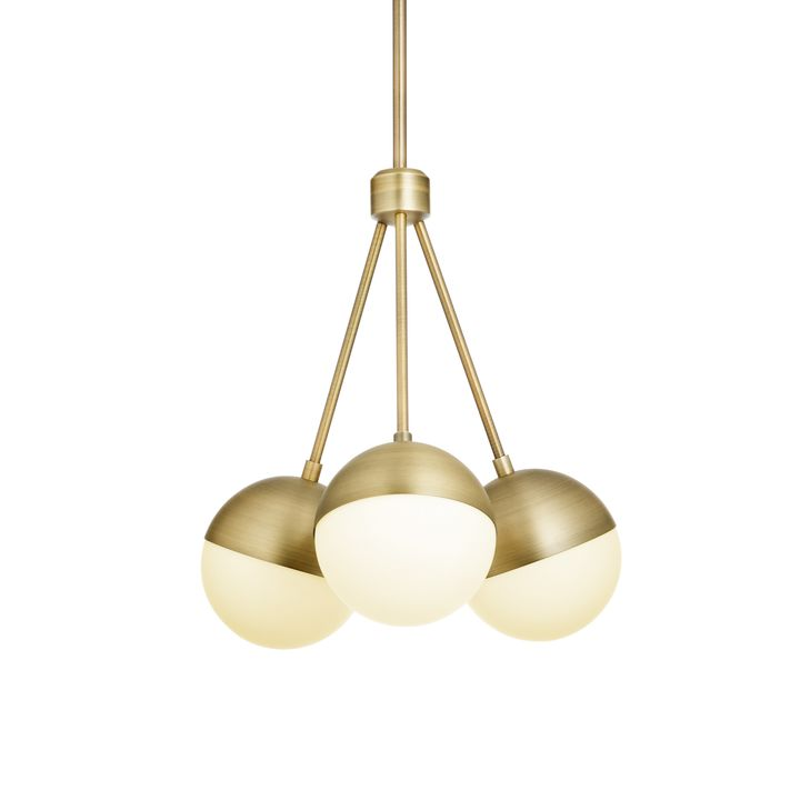 Powell LED 3 Light Chandelier With White Globes, Aged Brass