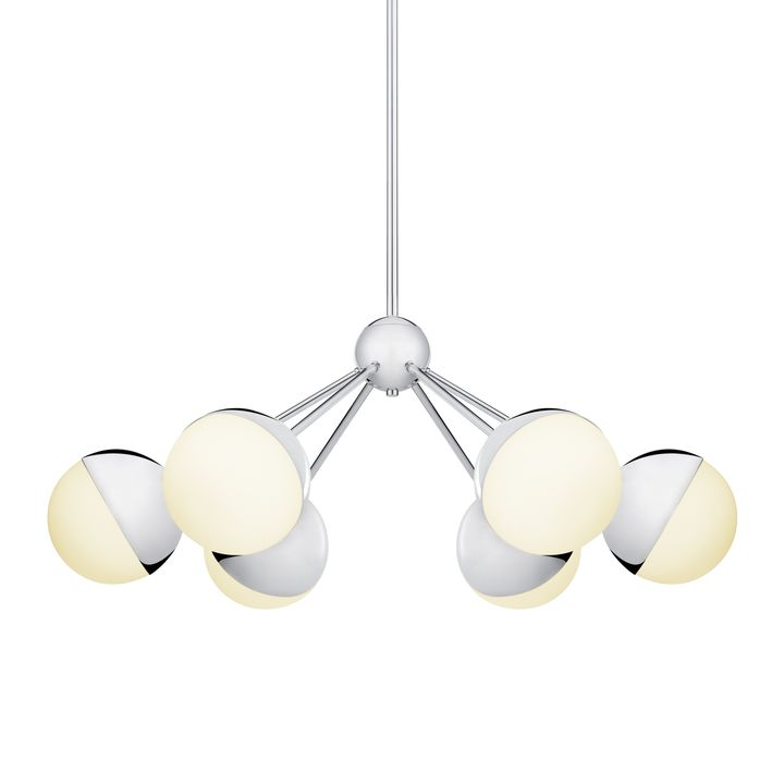 Powell LED 6 Light Chandelier With White Globes, Chrome