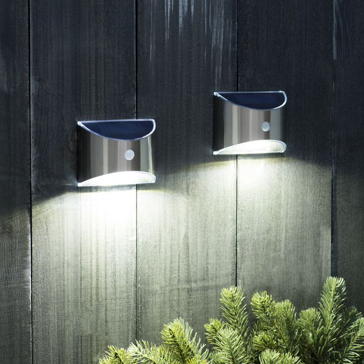 Nova Solar Wall Light With Motion Detection Set Of 2