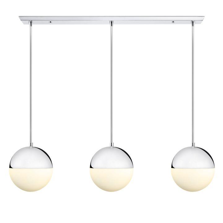 3 Powell LED 10  Globe Pendants and 3-Light Rectangle Canopy Chrome  sc 1 st  Lights.com & Lights.com | Ceiling | Pendant Lighting | 3 Powell LED 10