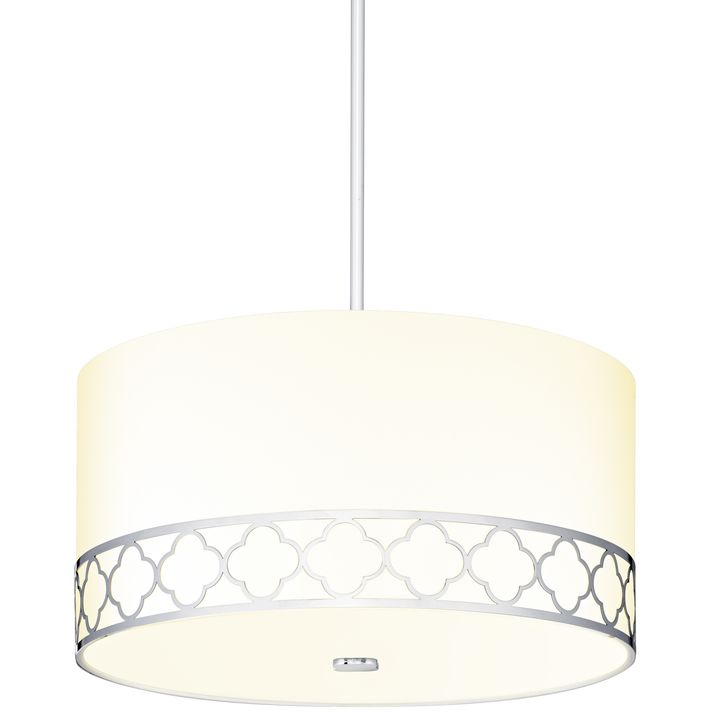 Anja 18 Fabric Drum Shade Pendant Polished Nickel