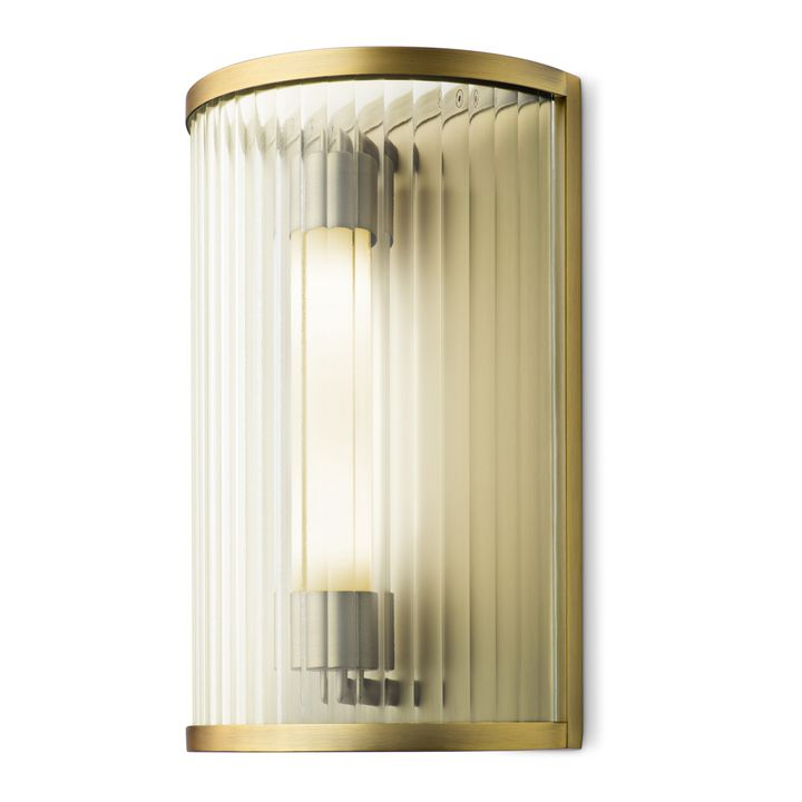 Harper Led Cylinder Gl Rod Wall Sconce Aged Br