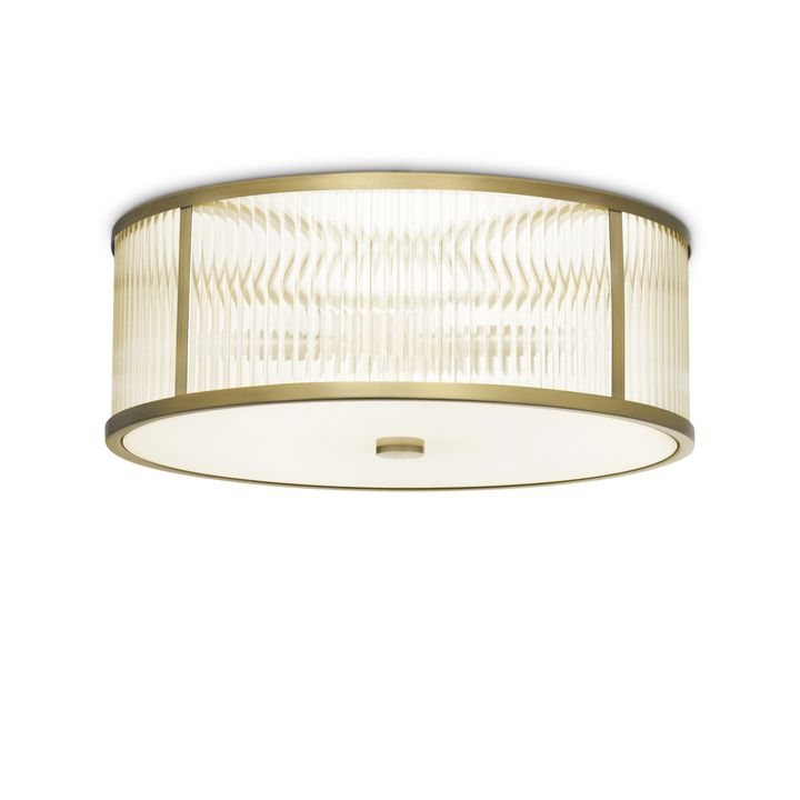 Harper 18 Led Round Gl Rod Flush Mount Aged Br