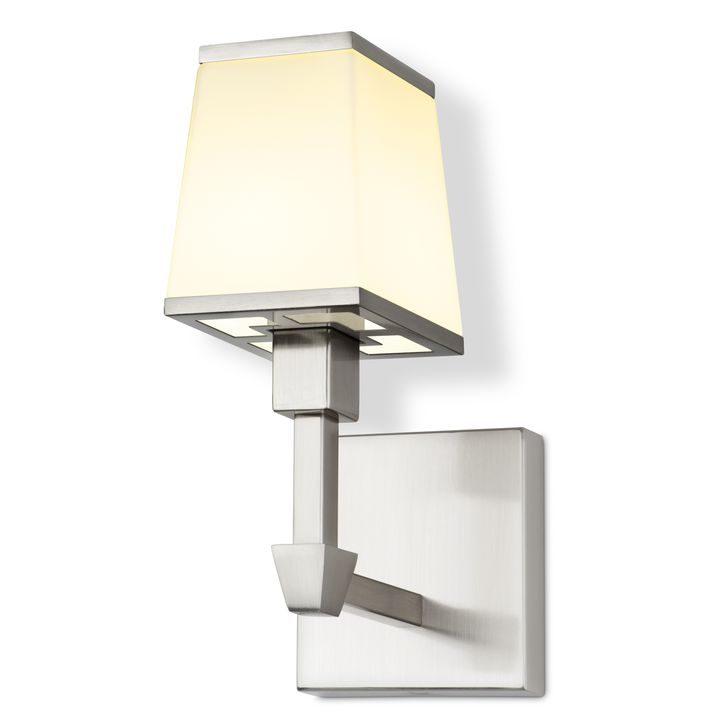 Kingston Wall Sconce With Opal Gl Shade Satin Nickel