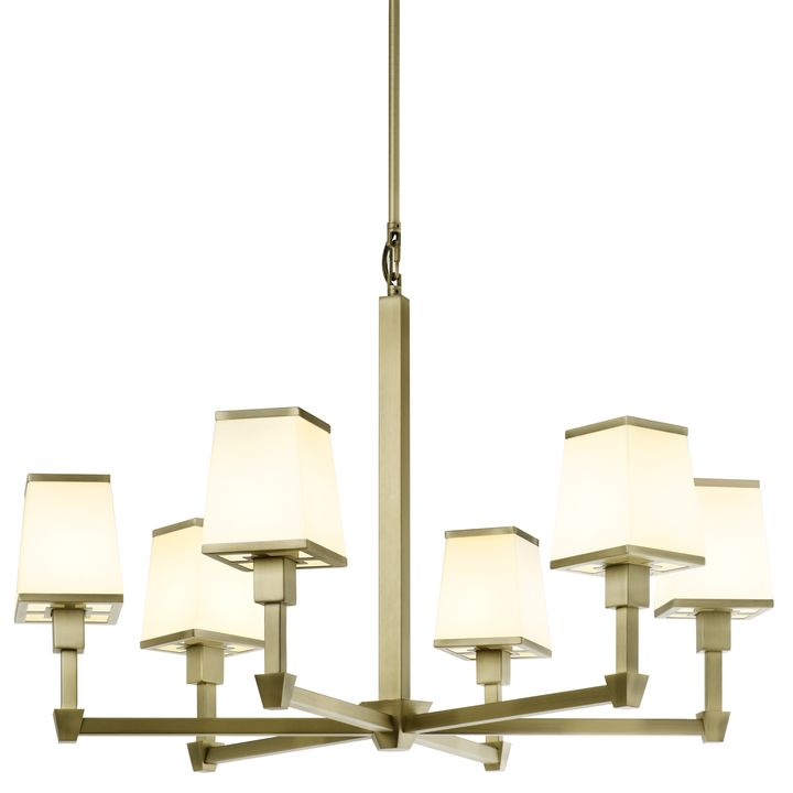 Kingston 6 Light Round Chandelier With Opal Glass Shade Aged Brass