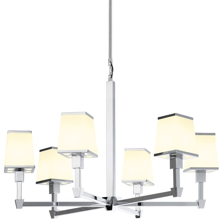 Kingston 6 Light Round Chandelier With Opal Glass Shade Polished Nickel