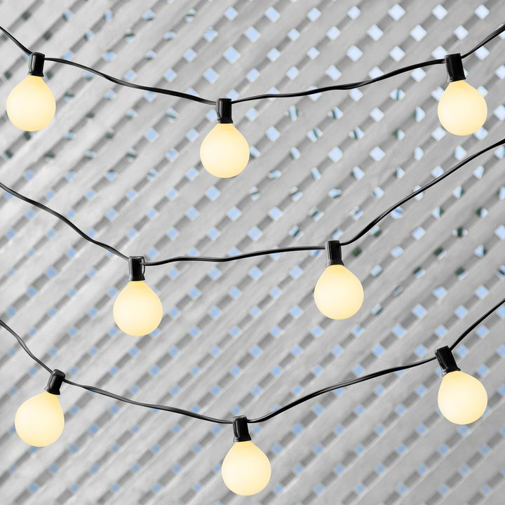 sale retailer d1c3e 40b0c Classic Black Connectable White Glass Globe Plug-in String Lights, 25 Bulbs  G16.5