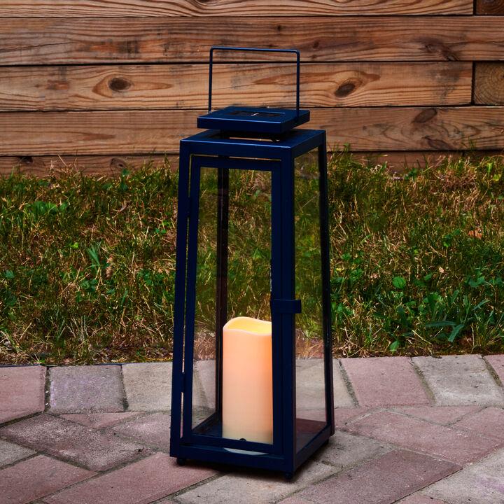 Nantucket Blue Large Solar Metal Lantern, Outdoor Candle Lanterns Uk