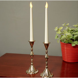 Ivory Tapers with Real Brass Candlesticks and Timer Set of 2