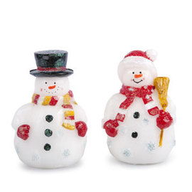 Mr. and Mrs. Snowman Flameless Wax Battery Figurines, Set of 2