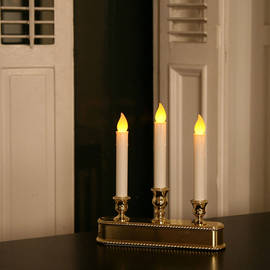 Triple LED Battery Powered Window Candelabra with Auto Sensor