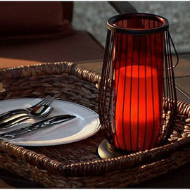 Outdoor Wire Lantern Flameless Candle and Auto Timer
