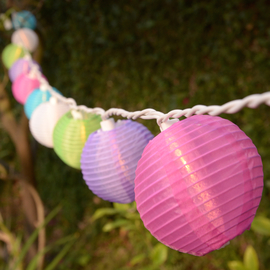 Multicolor Mini Party Lantern Plug-in String Lights, Strand of 10