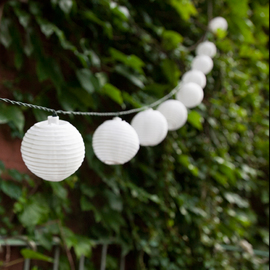 White Solar Mini Lantern String Lights, Strand of 30