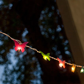 Multicolored Butterfly Plug-in String Lights, Strand of 10