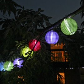 Solar Multicolor Mini Lanterns String Lights, Set of 10