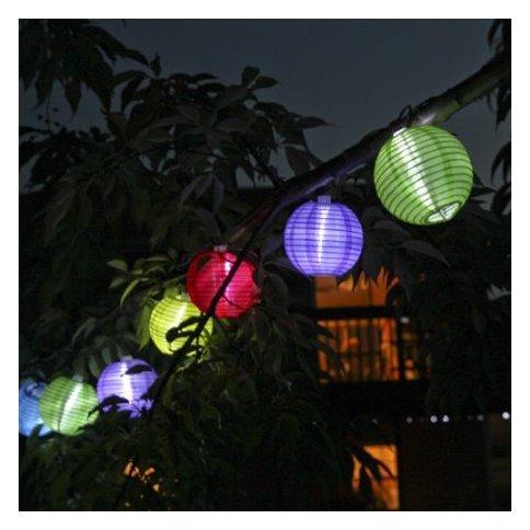Solar Multicolor Mini Lanterns String Lights, Set of 10